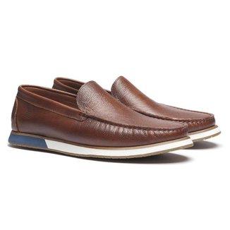 Sapato Loafer Casual Masculino Em Couro Tan