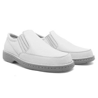 Sapato Masculino Conforto Em Couro Branco 310