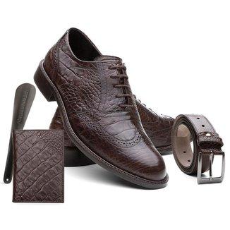 Sapato Masculino Couro Croco + Cinto + Carteira + Calçadeira