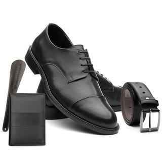 Sapato Masculino Couro Leve + Cinto + Calçadeira + Carteira