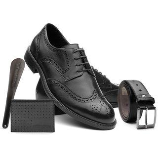 Sapato Masculino Couro Macio + Cinto + Carteira + Calçadeira