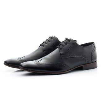 Sapato Masculino De Amarrar  olado De Couro Oxford Classico