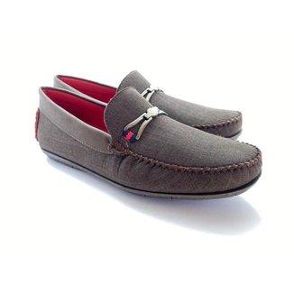 Sapato Masculino Mocassim Casual Detalhe Bridon Metal c/ Solado Confortável