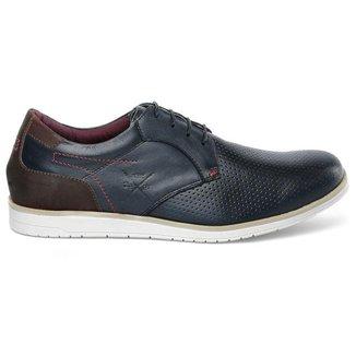 Sapato Masculino Oxford Marinho Em Couro Comfort 605 Cam