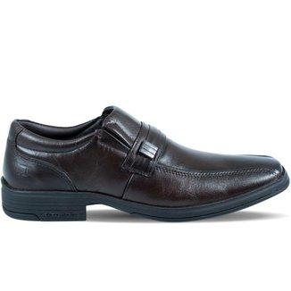 Sapato Masculino Pipper com Elástico Lateral de Couro Marrom