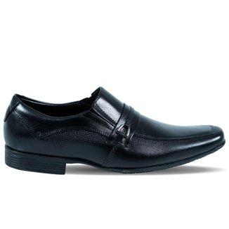 Sapato Masculino Score com Elásticos Laterais em Couro Preto