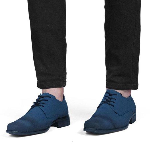 Sapato Masculino Social Bico Quadrado Liso Cadarço Casual - Azul Escuro