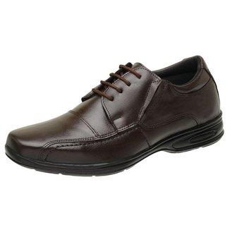Sapato Masculino Social Casual De Couro Confortavel Antistress Cafe 5070