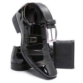 Sapato Masculino Social Moderno Schiareli 803 Com Cinto e Carteira Em Sintético