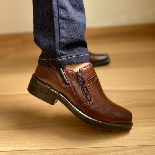 Sapato Masculino Urban Way Zíper Couro Marrom Café Ferracini - Marrom Escuro