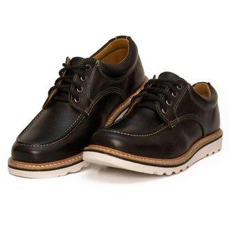 Sapato Moc Toe Couro Confort Boston Black Cmr Shoes