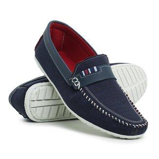 Sapato Mocassim Click Calcados Em Lona Grafite Sola Em Borracha Super Leve