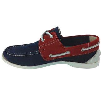 Sapato Mocassim Docksider Unissex Vermelho/azul Top Franca Shoes