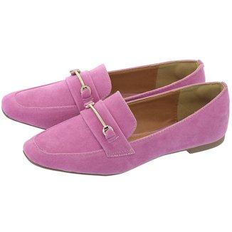 Sapato Mocassim Donatella Shoes Bico Quadrado Camurça