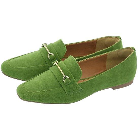 Sapato Mocassim Donatella Shoes Bico Quadrado Camurça - Verde