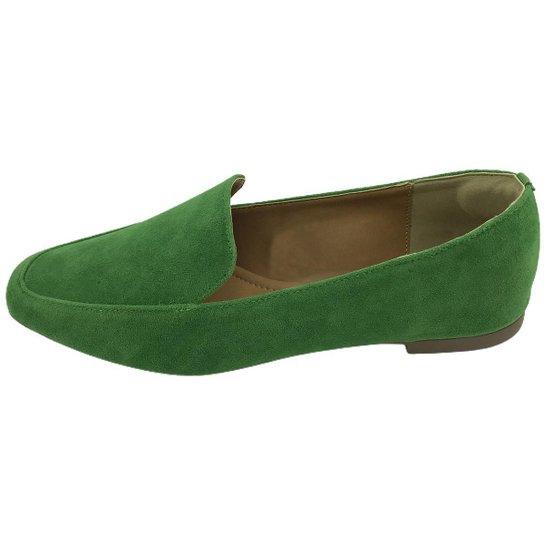Sapato Mocassim Feminino Donatella Shoes Camurça Macau Liso Confort - Verde