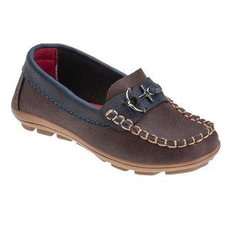 Sapato Mocassim Infantil Menino Costura Âncora Casual Leve