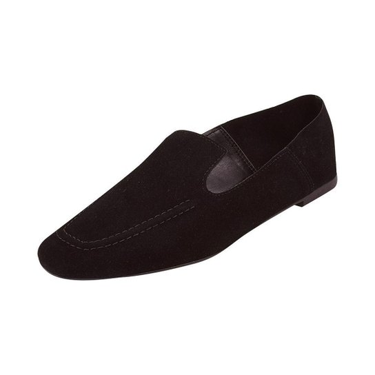 Sapato Mocassim Loafer Bico Quadrado Sapatteria - Preto