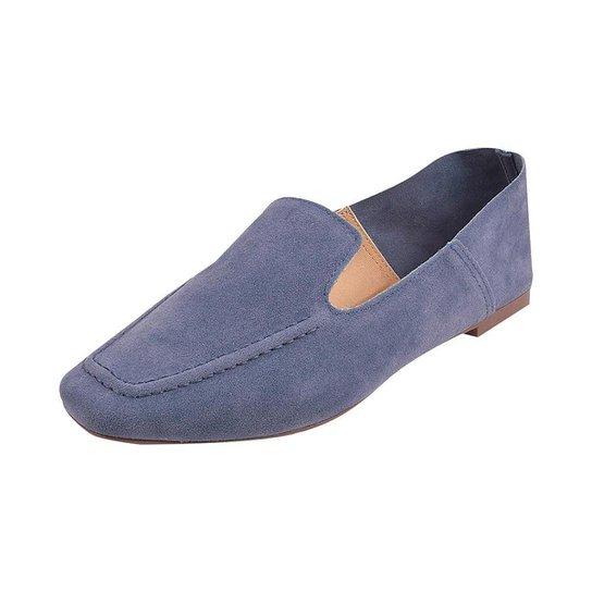 Sapato Mocassim Loafer Bico Quadrado Sapatteria - Azul
