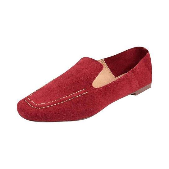 Sapato Mocassim Loafer Bico Quadrado Sapatteria - Vermelho