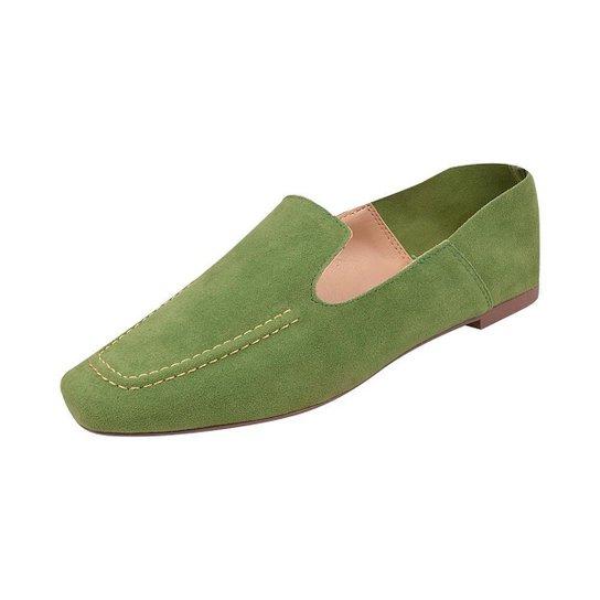 Sapato Mocassim Loafer Bico Quadrado Sapatteria - Verde claro