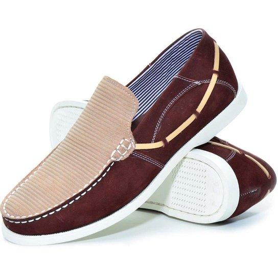 Sapato Mocassim Lucilena Calcados.net Em Bordo Com Palha Masculino - Bordô