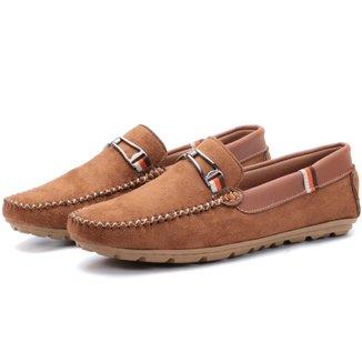 Sapato Mocassim Masculino Camurca Conhaque