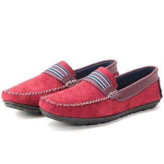 Sapato Mocassim Masculino Camurca Vermelha