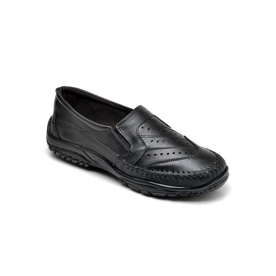 Sapato Mocassim Masculino Couro Resistente Macio Conforto - Preto