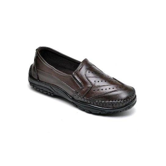 Sapato Mocassim Masculino Couro Resistente Macio Conforto - Marrom