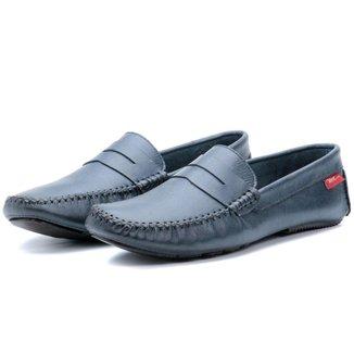 Sapato Mocassim Masculino Em Couro Azul Petroleo