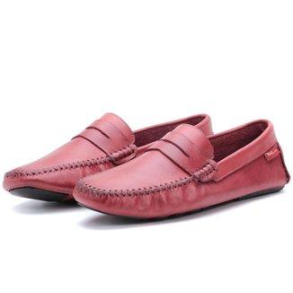 Sapato Mocassim Masculino Em Couro Vermelho