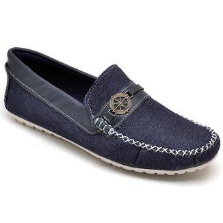 Sapato Mocassim Masculino Jeans Bico Redondo Conforto Macio