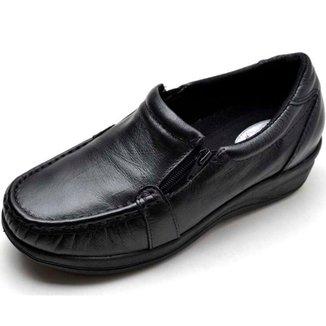 Sapato Mocassim Ortopédico Conforto em Couro Feminino