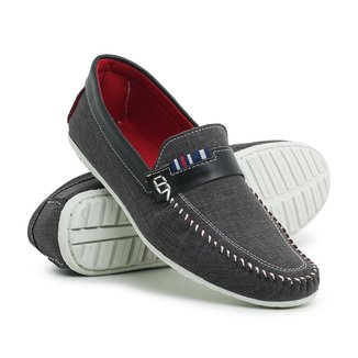 Sapato Mocassim Su Fashion Store Em Lona Azul Escuro Sola Em Borracha