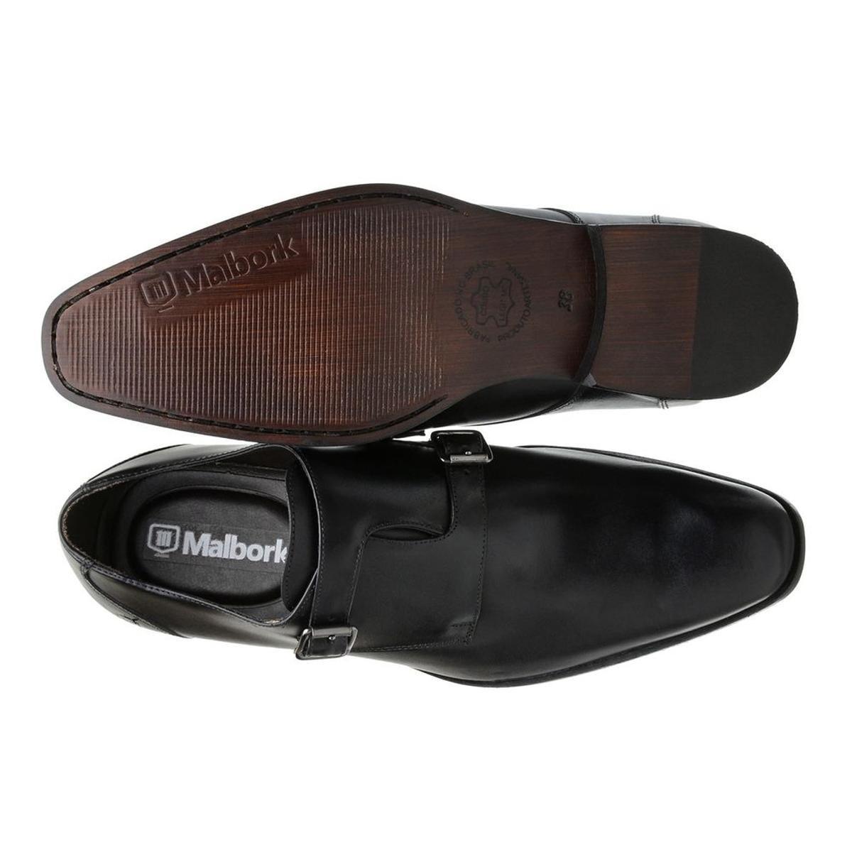 Sapato Monk Masculino Malbork em Couro 60052 - Preto