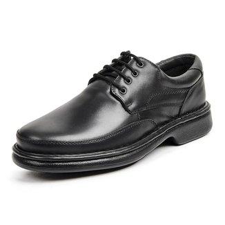 Sapato Ortopédico Social Masculino Couro Cadarço Conforto