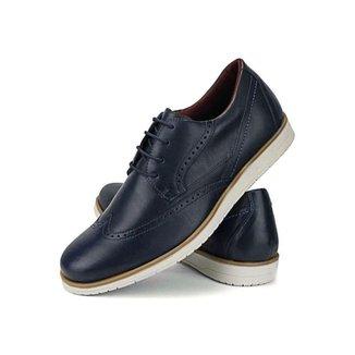 Sapato Oxford Casual Masculino Confort Couro