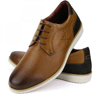 Sapato Oxford Casual Masculino Confort Nobuck Couro