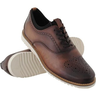 Sapato Oxford Euro Flex Couro Macio Leve Conforto Social Masculino