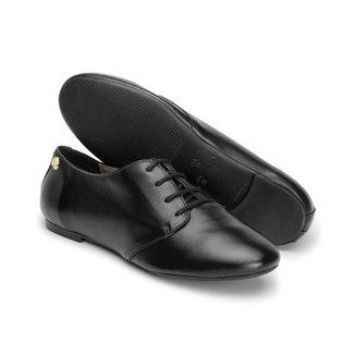 Sapato  Oxford Feminino Couro Fecho Cadarço