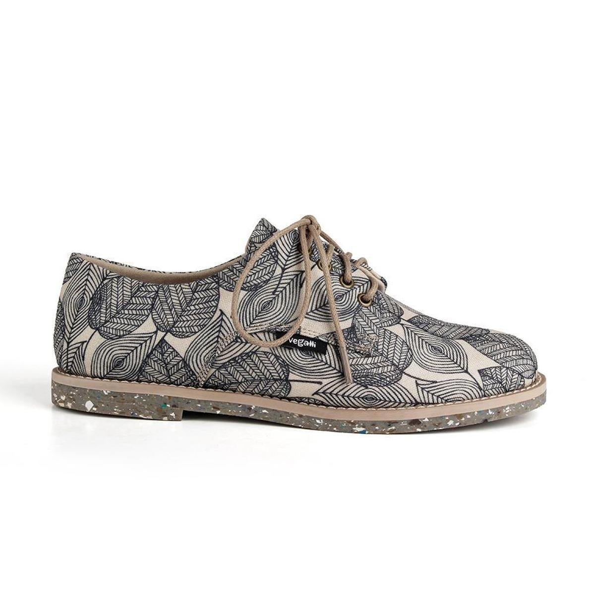 Sapato Oxford Feminino Vegano Estampado Tropical Conforto - Branco e Preto