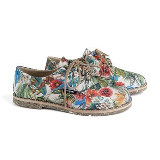Sapato Oxford Feminino Vegano Estampado Tropical Conforto