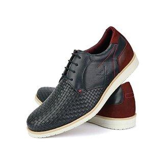 Sapato Oxford Masculino Confort Nobuck Marinho Couro