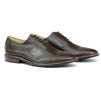 Sapato Oxford Masculino Couro Bico Redondo Solado Borracha