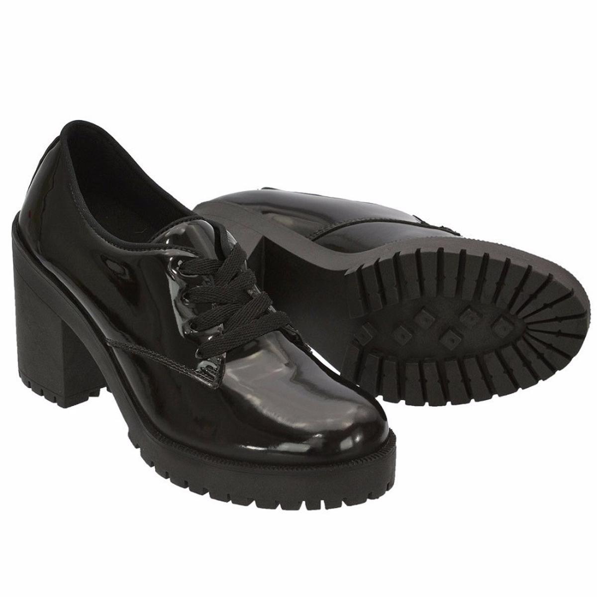Sapato Oxford Verniz CR Shoes Salto Bloco Feminino - Preto