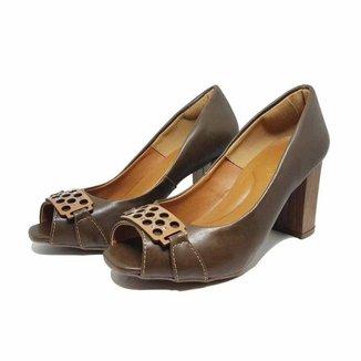 Sapato Peep Toe Fivela Salto Baixo 109 HINFINITY Feminino