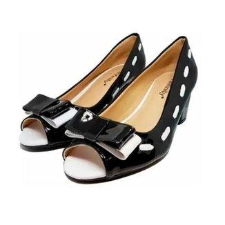 Sapato Peep Toe Laço Salto Baixo 282 HINFINITY Feminino