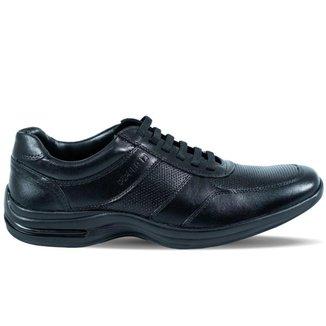 Sapato Pipper Masculino Cadarços Elásticos em Couro Preto