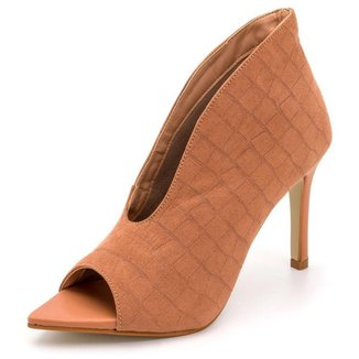 Sapato Scarpin Abotinado Salto Alto Fino Em Croco